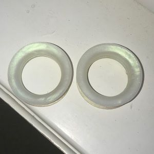 pearl white holographic-ish silicone tunnels